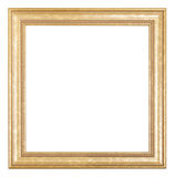 Square golden wooden picture frame Royalty Free Stock Photography