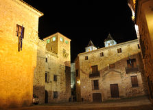 Square of the Golfines palace, Caceres, Extremadura, Spain Royalty Free Stock Photos