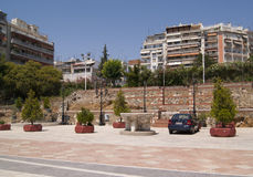 The square in Greece. The square in Thessaloniki, Greece, next to the Church of Demetrious Stock Image