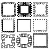 Square greek key meander border frame patterns set. Vector black ornaments on white background. Isolated texture. Ornamental greek style design. Monochrome vector illustration