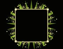 Square green black frame. Square frame element with glowing design elements Royalty Free Stock Photography