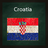Square green chalkboard with Croatia flag Royalty Free Stock Image
