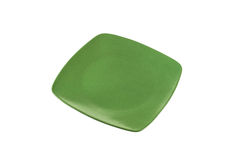 Square green dinner plate Royalty Free Stock Image