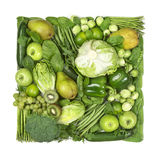 Square of green fruits and vegetables Stock Image