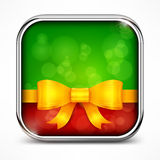 Square green icon & bow Royalty Free Stock Image