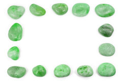 Square green pebbles frame Stock Photography