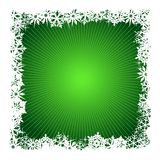 Square green snowflake background. Grungy Christmas, winter snowflake background in green and white. Use of global colors, blends. Snowflakes single objects Stock Images