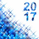 2017 square greeting card on blue shiny holiday lights. Background stock illustration
