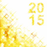 2015 square greeting card on golden shiny holiday lights. Background Royalty Free Stock Image