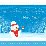Square greeting card with image of a snowman holding a twig with Christmas ball on the background of winter trees. royalty free illustration