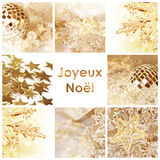 Square greeting card joyeux noel, meaning merry christmas in French. Collage with shiny decorations Stock Photography
