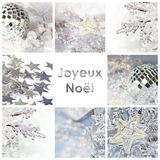 Square greeting card joyeux noel, meaning merry christmas in French. Collage with shiny decorations Stock Image