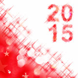 2015 square greeting card on red shiny holiday lights. Background Royalty Free Stock Images