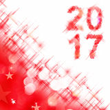 2017 square greeting card on red shiny holiday lights. Background stock illustration