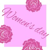 Square greeting card women`s day with roses. Square greeting card women`s day with three roses and text vector illustration