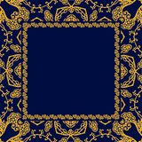 Square greeting or invitation card with space for text and ornamental yellow frame on dark blue background. Tea box template. Silk scarf, pillowcase in vector stock illustration