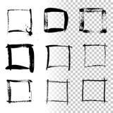 Square grunge frames isolated on transparent background. Vector design element set. stock illustration