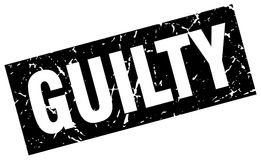 Square grunge guilty stamp. Square grunge black guilty stamp Stock Photo