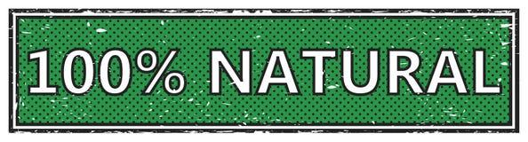 100% natural square grunge stamp. Square grunge stamp web banner Royalty Free Stock Photo