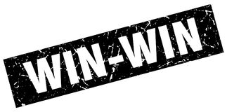 Square grunge win-win stamp. Square grunge black win-win stamp Royalty Free Stock Photography