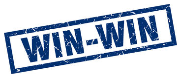 Square grunge win-win stamp. Square grunge blue win-win stamp Royalty Free Stock Images