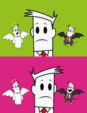 Square Guy-angel And Devil Royalty Free Stock Image