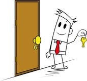 Square guy-Door and key Stock Photo