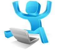 Square Guy - yay, i can do it!! Stock Images