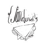 Square hand drawn illustration with tasty sandwich and lettering on top. Black and white, isolated on white background, perfect fo Stock Images