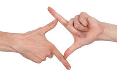 Square hand sign. Studio shot isolated on white Royalty Free Stock Image