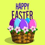 Square Happy Easter Banner with basket filled up with painted eg Royalty Free Stock Images