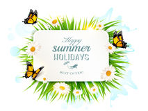 Square happy summer holidays banner with grass, butterflies Royalty Free Stock Photo