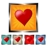 Square heart buttons Royalty Free Stock Photography