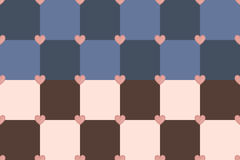 Square hearts pattern. Blue, dark blue, pink and chocolate hearts seamless vector pattern Stock Images