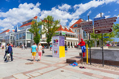 Square at the Heroes of Monte Cassino in Sopot. SOPOT, POLAND - 7 JUNE: Square at the Heroes of Monte Cassino Street in Sopot on 7 June 2014. Sopot is major Royalty Free Stock Photography