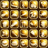 Square high-gloss food icons. Collection of 25 buttons with a cooking theme. Graphics are grouped and in several layers for easy editing. The file can be scaled Stock Photography