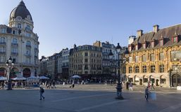 Square in the historic area of Lille, France. stock photo