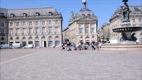 Square in the historic center of Bordeaux. 19 june 2017-bordeaux-france- Square in the historic center of Bordeaux stock video