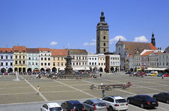 Square in the historic center of Ceske Budejovice Stock Photo