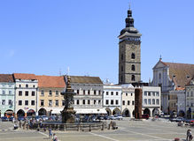 Square in the historic center of Ceske Budejovice Royalty Free Stock Photos