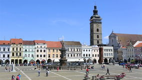 Square in historic center of Czech Budejovice. stock video footage