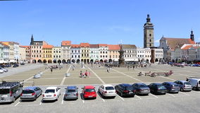 Square in historic center of Czech Budejovice. stock footage