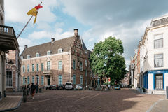 Square in historic centre of Utrecht, sunlight of sunset at back Stock Images