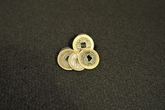 Square hole Chinese cash coins royalty free stock photography