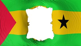 Square hole in the Sao Tome and Principe flag. White background, 3d rendering stock illustration