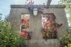 Square hole in the wall with a view through to the autumn garden. With grape vines inside royalty free stock photo