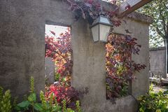 Square hole in the wall with a view through to the autumn garden. With grape vines inside stock photos