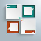 Square Holes 2 Speech Bubbles Infographic. Infographic design on the grey background Stock Images