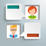 Square Holes 2 Speech Bubbles Man Woman Stock Photography