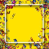 Square holiday background with colorful serpentine. Yellow square New Year background with colorful paper serpentine. Vector illustration Stock Image